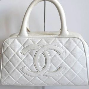 6ebc3081e2 Chanel Mini White Quilted Caviar CC Tote Bag